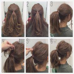 💘koyarrange💘 Way's発の今、大注目 #NYポニー 1. ハチ上の髪をざっくりひとつ結び 2. 耳までの毛を1の所でゴムで留める 3. 下の毛も1の所でゴムで留める 4. 留めた毛先から1束とってゴムを隠すように巻きつけてピンで留める 5.…