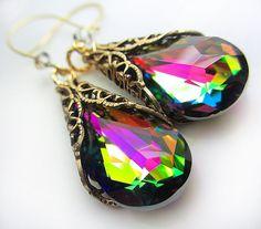 Swarovski Pink Green Earrings Olive Vitrail Crystal Earrings Blue Purple Fuchsia Crystal Emerald Aurora Borealis Antique Gold Filigree