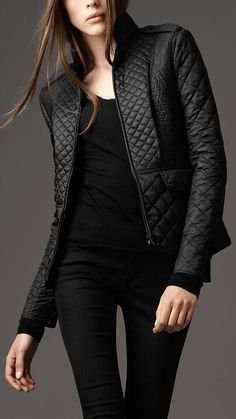 black burberry quilted jacket.