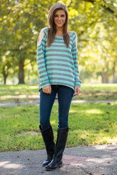 """Have you caught the stripe love fever this fall? We suggest you give this pretty little mint number a try! The colors are perfection and just look at the crochet details on the shoulder! Definitely adds some nice texture!  <br /> <br />Material has fair amount of stretch. <br />Miranda is wearing the small. <br /> <br />Sizes fit: <br />Small- 0-4; Medium- 6; Large- 8 <br />Length from shoulder to hem: S- 30""""; M- 31""""; L- 32""""."""