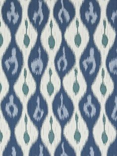 Miram Ikat Outdoor Fabric A lovely outdoor ikat fabric woven in denim and sky blue with sea green and cream.