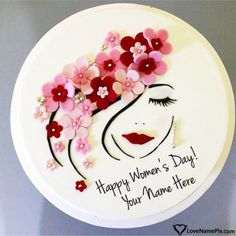 Cute Women's Day Cake Images With Name Editor Women day celebration is incomple. - Cute Women's Day Cake Images With Name Editor Women day celebration is incomplete without a beau - Pretty Cakes, Cute Cakes, Beautiful Cakes, Amazing Cakes, Girly Cakes, Fancy Cakes, Happy Woman Day, Happy Women, Cake Name