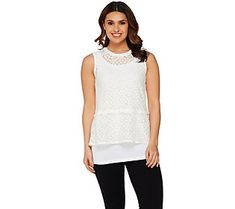 LOGO by Lori Goldstein Twin Set Peplum Top and Tank