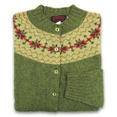 Women's Scottish Shetland Wool Fair Isle Cardigan Sweater - Olive Grove