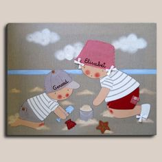 Cuadro infantil: niños playa - Cuadro pintado a mano Bastidor de madera de 61 x46 cm, entelado con lino color piedra Motivo: 2 niños jugando en la playa Aplicaciones: bolsillos y gorra de tela, botones, cordones en los zápatos.