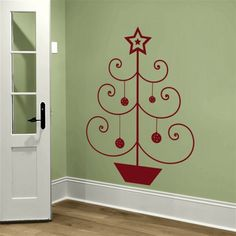 Simple Christmas Tree with a Star Wall Decal Sticker Graphic