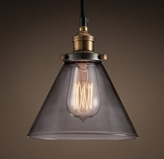 Smoke Glass Funnel Filament Pendant Restoration Hardware $99 plus shipping