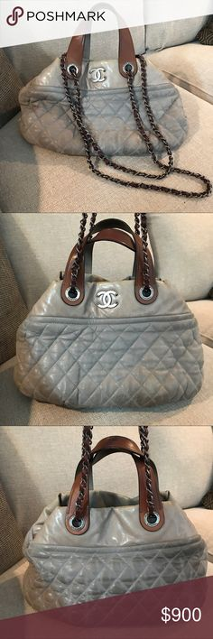 Chanel Bag Authentic Lambskin Chanel quilted bag with gunmetal hardware. Fair used condition color transfer all around but extremely soft and still very cute! Interior is fair condition as well. This bag has no tears, rips or stains! This does not come with dust bag or box or auth. card. CHANEL Bags Shoulder Bags