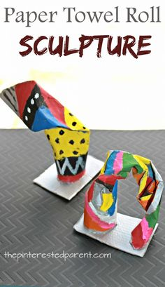 Paper towel roll sculptures. Twist bend and fold cardboard tubes to make simple structures and paint. Arts and crafts for kids.