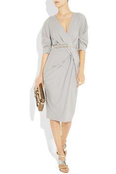 $1,746.50 Donna Karan Belted Stretch Wool-Blend Dress