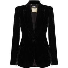 L'Agence Chamberlain velvet blazer ($625) ❤ liked on Polyvore featuring outerwear, jackets, blazers, co-ords, black, sparkly jacket, blazer jacket, sparkly blazer, peaked lapel blazer and velvet blazer