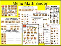 Worksheets Menu Math Worksheets menu math worksheets special education ideas resources menumathbinder png