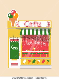 Vector modern ice cream  cafe  detailed facade background in flat style, with big sweet sticker #vector #illustration #flat #design #art #shop #store #cafe #cartoon