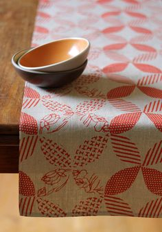 Red Linen Table Runner, Hand Printed, Anna Joyce Textile