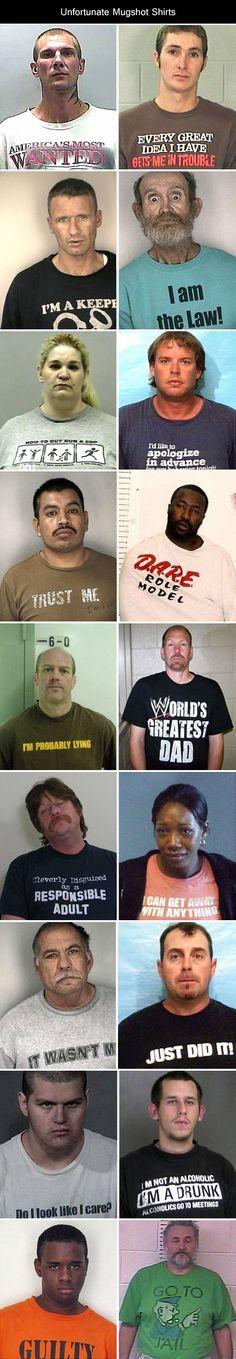 Hilarious Unfortunate Mugshot Shirts…