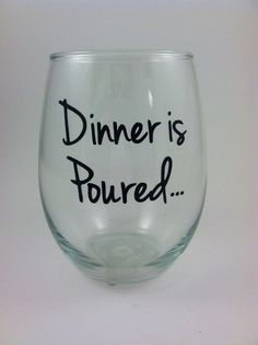 Personalized Dinner is poured stemless wine by QuiteUniqueBoutique, $9.00