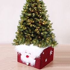 WEKSI Red Santa Claus Christmas Tree Skirt Christmas Gift Storage Box Christmas Decoration (1)