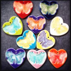 Porcelain Butterfly pendants by Round Rabbit.