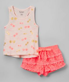 Look what I found on #zulily! Juicy Couture Pink & Gold Cherry Tank & Shorts - Infant, Toddler & Girls by Juicy Couture #zulilyfinds