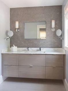 like the vanity, seems to have good storage. bad installation of penny tile. EHS Contemporary bathroom features a taupe veneer floating vanity topped with white marble fitted with . Taupe Bathroom, Diy Bathroom Vanity, Small Bathroom Vanities, Basement Bathroom, Vanity Sink, Bathroom Ideas, Vanity Backsplash, 1950s Bathroom, Bathroom Blinds
