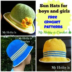 This crocheted cotton s un hat for children can be made for both boys and girls, using the colors of your choice.            Click here to...