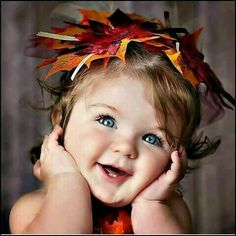 A little toddler looks adorable in a leaf hat. Cute Kids, Cute Babies, Baby Kids, Cute Little Baby, Baby Love, Beautiful Children, Beautiful Babies, Little People, Little Ones