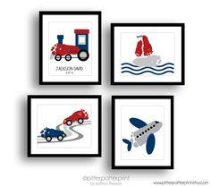 Transportation Art Print Set, Train, Airplane, Car, Sailboat Nursery Wall Art, Baby Footprint Art, Personalized Boys Room Decor, Baby Art