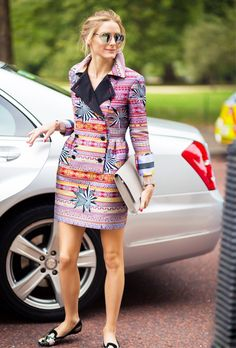 Olivia Palermo in a hold printed tuxedo dress and loafers