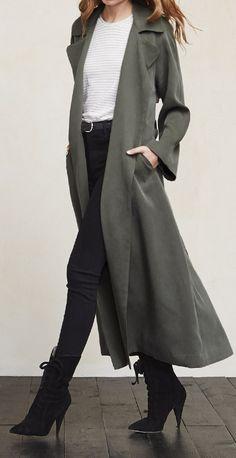 Olive trench coat • Street CHIC • ❤️ вαвz ✿ιиѕριяαтισи❀ #abbigliamento
