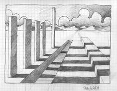 The shading used here one this one point perspective really gives the image dept… The shading used here one this one point perspective really gives the image depth and realism, It helps the eyes. One Point Perspective, Perspective Drawing, Cartoon Drawings, My Drawings, Dark Skies, Pixel Art, Poster, Shades, Painting
