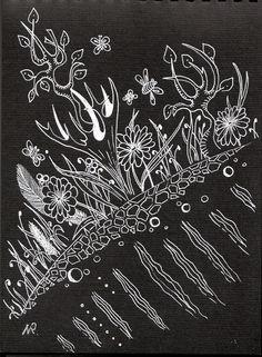 рисунок на черном зентанглы черная  пастель белая  гелевая  ручка Zantangles