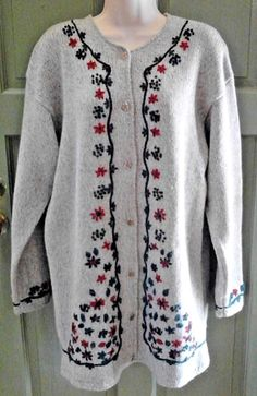 Ragg Wool Cardigan Women's Christmas Sweater L Wool/Cotton Northern Reflections #NorthernReflections #Cardigan