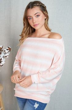 Cute Peach White Stripe Off The Shoulder Top - Boutique Stripe Tops – Ledyz Fashions Boutique Pretty And Cute, Fashion Boutique, Off The Shoulder, Casual Outfits, Peach, Stripe Top, Stylish, Long Sleeve, Hemline
