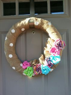 Summer wreath-- love the polkadots!