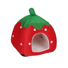 d15f99f0ff SCASTOE Cute Strawberry Soft Cotton Pet House Bed Kitten Puppy Kennel Cave  House Foldable Beds Cushion
