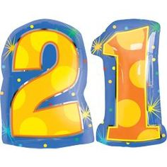 21 Number Balloons - Helium Filled