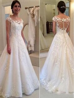 Round Neck Rustic Wedding Dress Lace Bridal Our Email:dollygown - AtzeC Lace Back Wedding Dress, Rustic Wedding Dresses, Wedding Dress Trends, Bridal Lace, Dream Wedding Dresses, Lace Dress, Lace Weddings, Tulle Lace, Short Girl Wedding Dress