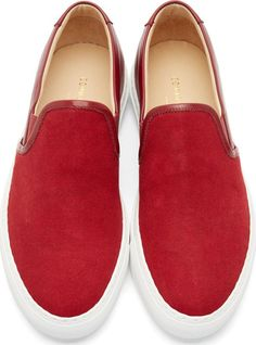 Common Projects - Red Canvas & Leather Slip-On Sneakers - $410