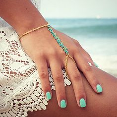 Loving the combination of this bracelet with a baby blue nail polish!