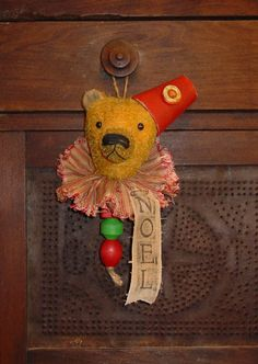 """12"""" antique Victorian style mohair teddy bear cupboard hanger. Perfect for hanging on a chippy old cupboard."""