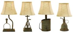 """Unique 4 Rustic Table Lamps Antique-Style Distressed Iron Kitchen Tools 15"""" New #HandCrafted #RusticPrimitive"""