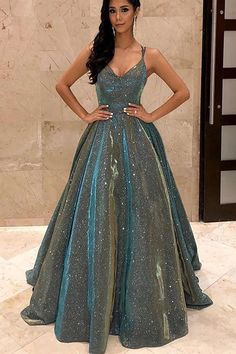 Spaghetti Straps Sage Sleeveless Long Prom Dress with Sequin Evening Dress - Evening Dresses Sequin Evening Dresses, Elegant Prom Dresses, A Line Prom Dresses, Pretty Dresses, Homecoming Dresses, Evening Gowns, Formal Dresses, Long Dresses, Dresses Dresses