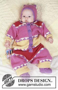 Circus Act / DROPS Baby 4-4 - Combinaison manches longues DROPS à motif arlequin, Bonnet et Chaussons en Baby-Merino