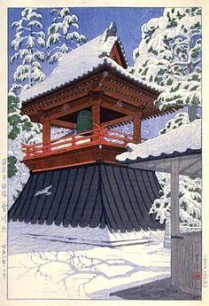 hanga gallery . . . torii gallery: Bell Tower of Gokokuji Temple in Snow by Shiro Kasamatsu