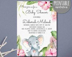Elephant baby shower invitation Girl Elephant Invitation