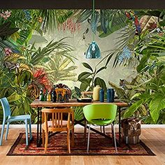 East Urban Home With a surprise behind every leaf this scenic wall mural lets you enjoy the spectacular view of a tropical rain forest. Watch tigers parrots and other exotic creatures in their natural habitat all from a safe distance of course! Custom Wallpaper, Photo Wallpaper, Wall Wallpaper, Wallpaper Roll, Cheap Wallpaper, Wallpaper Ideas, Pattern Wallpaper, Tropical Home Decor, Tropical Houses