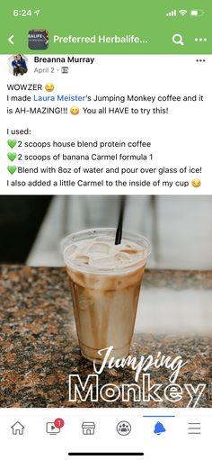 Herbalife Shake Recipes, Herbalife Nutrition, Blended Coffee Recipes, Herbal Life Shakes, Monkey Coffee, Protein Coffee, Nutrition Club, Protein Blend, Beverages