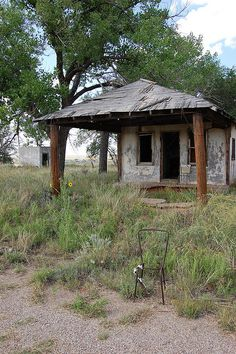 Glenrio, Texas on old Route 66, became a ghost town in 1973 when the interstate bypassed the town.