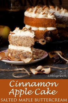 Sep 2019 - Cinnamon Apple Cake: light and bouncy sponge cake loaded with nuggets of home dried apple. Adorned by delectable salted maple buttercream, this is one elegant cake to fall in love with. Healthy Apple Cake, Moist Apple Cake, Apple Cinnamon Cake, Easy Apple Cake, Fresh Apple Cake, Apple Cake Recipes, Best Dessert Recipes, Cinnamon Apples, Cupcake Recipes