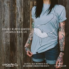New exclusive whale tee! 50% of all sales are donated to the Sea Shepherd Conservation Society. Limited quantities available - www.choonimals.com
